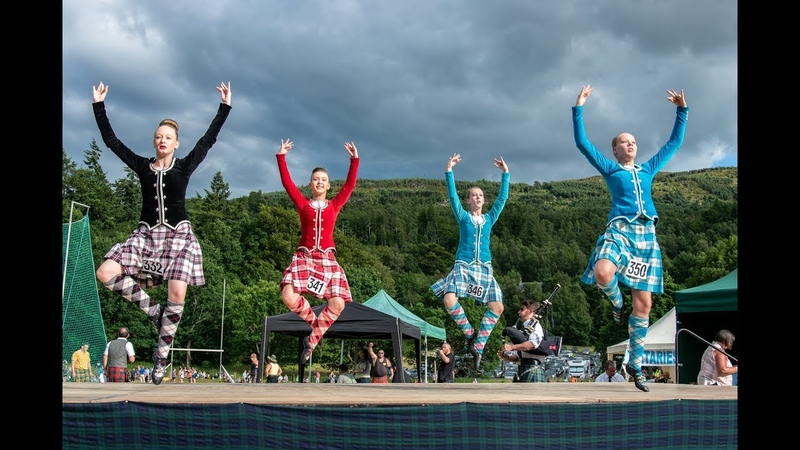 Film of Kenmore Highland Games 2018 with bagpipes, dancing and heavy events in Perthshire, Scotland