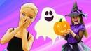 Готовимся к Хэллоуину! Игры для детей с Барби. Видео мультики с куклами для девочек