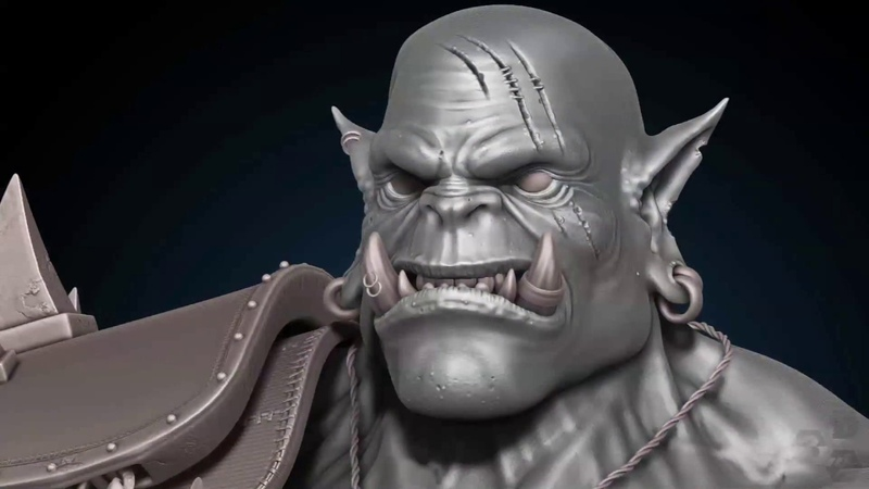 Timelapse ZBrush 2018 3D Game Character Development Part 1 WARCRAFT ORC WARRIOR