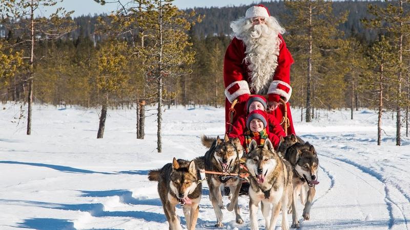 Joulupukki ja husky-koirat Joulupukin huskyt Rovaniemi Lappi Suomi lastenohjelma Joulu