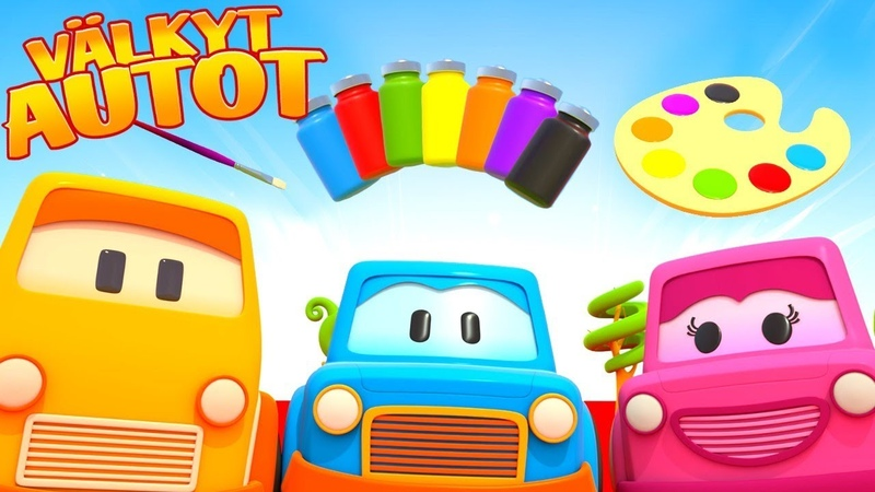 Opi värejä Välkkyjen Autojen kanssa Piirrettyjä lapsille Värien harjoittelua autojen kanssa