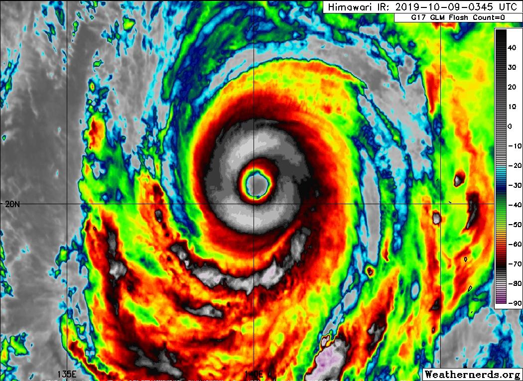 Супертайфун Хагибис в Тихом Океане