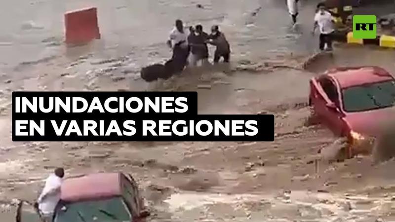 Fuertes lluvias provocan inusuales inundaciones en Arabia Saudita