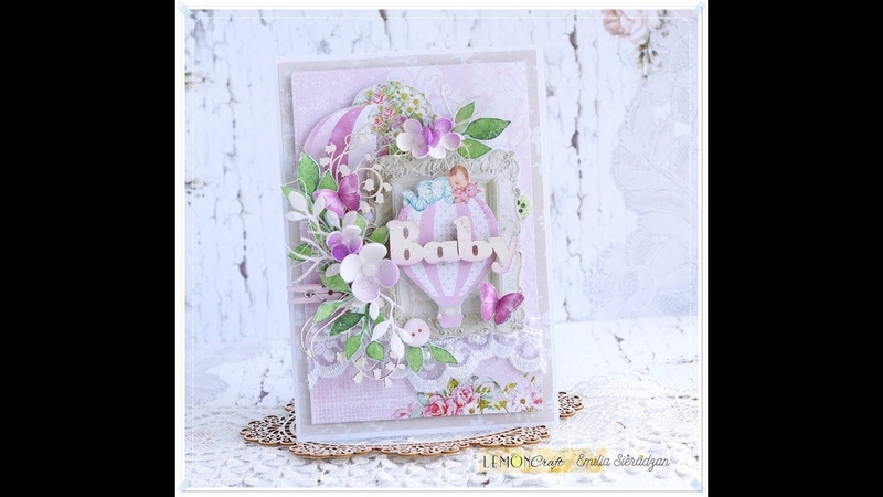 Card for a Baby Girl Step by step with Lemoncraft