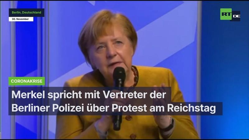 Merkel spricht mit Vertreter der Berliner Polizei über Protest am Reichstag