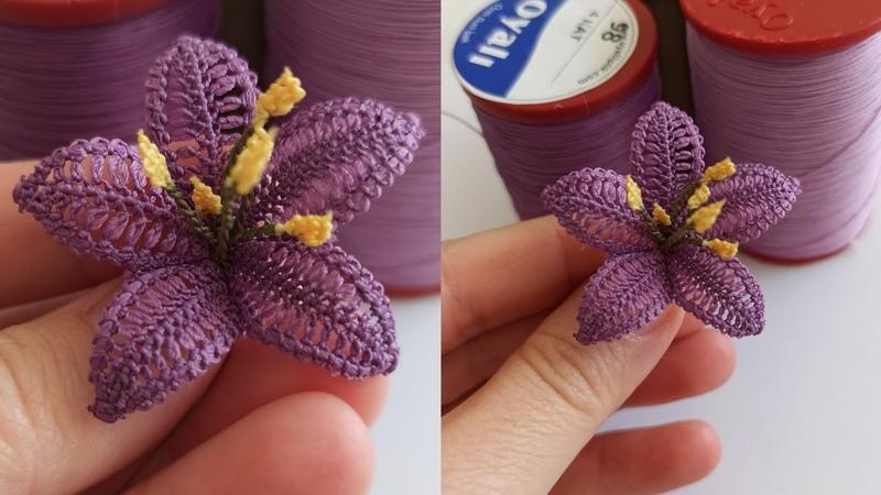 Mum iplik kullanmadan kendi ipi ile iğne oyası farklı zambak çiçeği yapılışıoyası zambak çiçeği