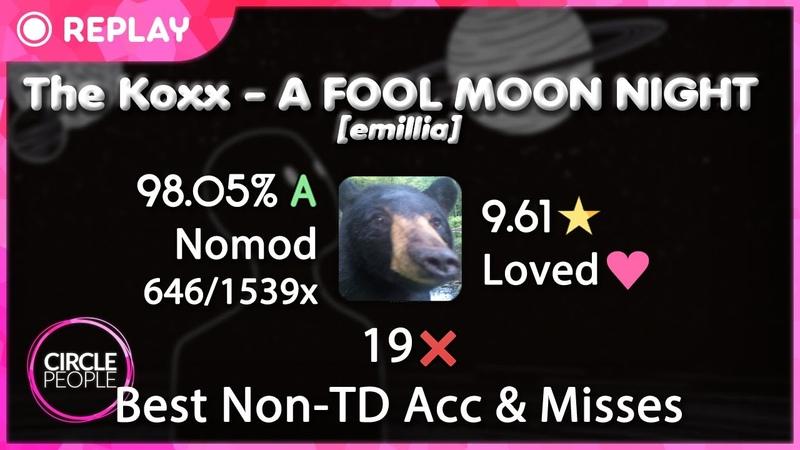 Osu! | badeu | A FOOL MOON NIGHT [emillia] 98.05 9.61⭐ 6461539x 19❌ | Best Non-TD Acc Misses