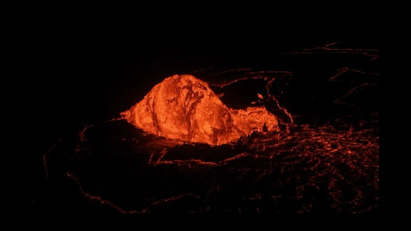 Dome Fountain Formed at Lava Lake Inlet, Halemaumau (Jan 2-3, 2020)