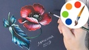 Zhostovo style by a filbert brush, Paint a Red Poppy, Acrylic painting