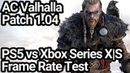 Assassins Creed Valhalla Patch 1.04 PS5 vs Xbox Series XS Frame Rate Comparison